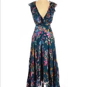 Saloni Floral Maxi Dress Blue Silk Blend 0